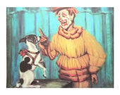 Clown with Dog - Vintage 1960's Circus Print Illustration
