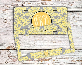 Monogrammed license plate - Yellow and gray damask - Customized vanity car tag - Bicycle license plate - Monogram bike license plate (9587)