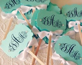 Vintage Style Custom Monogram Cupcake Toppers - Customizable Colors