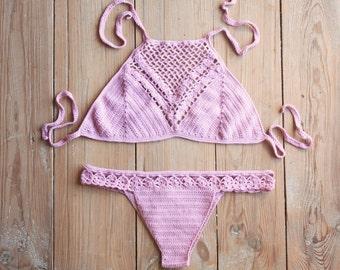 Halter Crochet Bikini, Halter Top Crochet Bikini Set, Halter Bathing Suit, Halter Bralette Swimsuit, Brazilian Swimwear, Brazilian Bottom