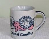 Coffee Mug, Souvenir Cup, Coastal Carolina, Pretty Shells, Pink with Navy Sea Shells - BreezyJunction.etsy.com