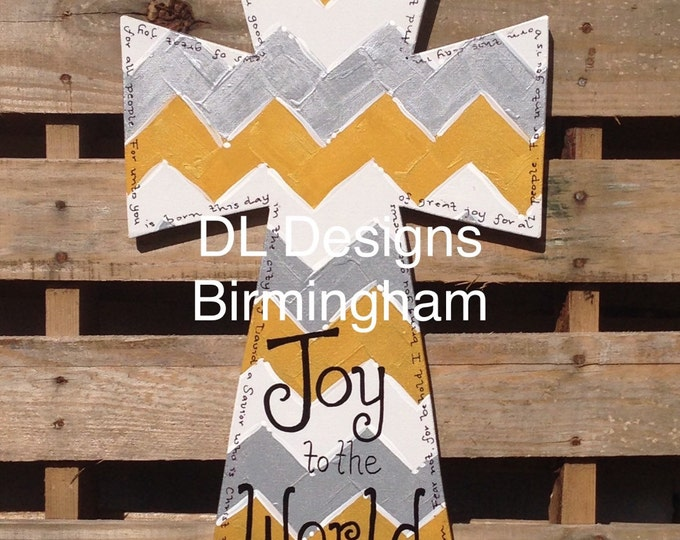 SALE gold, silver, and white chevron Christmas Joy to the World cross door hanger with Luke 2