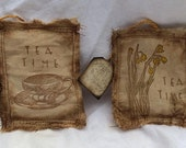 Primitive Cloth, Tea Dyed Tea Bags Hand Stamped Kitchen Decor