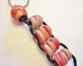 OOAK Stress Relief Keychain: Handmade Red, Copper, Grey Polymer Clay Beads on Black Silky Cord