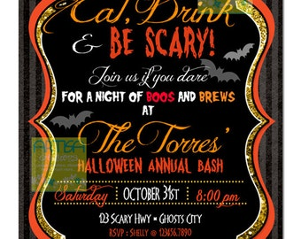 Halloween Invitation, Adult Halloween Invitation, Eat, Drink and be Scary Invitation, Eat drink and be Scary Glitter Halloween Invitation