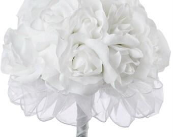 White Silk Rose Hand Tie (24 Roses) - Silk Bridal Wedding Bouquet