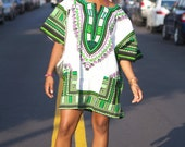 Unisex Dashiki White Royal Blue and Green African Shirt Dress - Kings and Queens