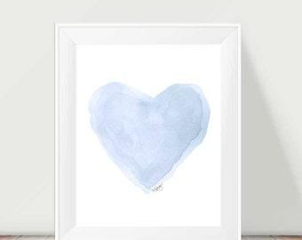 Pastel Blue Decor, Blue Watercolor, 11x14 Heart Print, Blue Heart Painting, Blue Nursery Art, Pale Blue Wall Art, Ice Blue, Pastel Blue Art