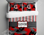 Camouflage Comforter or Duvet - All colors available - Camo Bedding Custom - Personalized Army Bedding