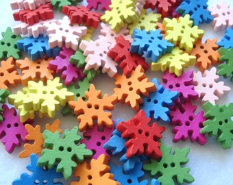 18mm Snowflake Shape Wood Buttons Mixed Colours Pack of 15 Snowflake Buttons CR24