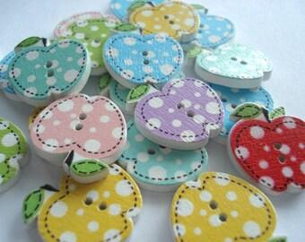21mm Apple Shape Spot Wooden Buttons, Pack of 15 Spot Print Apple Buttons, W2101