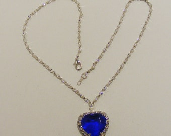 Vintage silver tone SIGNED BC Lind Faceted Blue Heart with Rhinestones Necklace