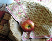 Vintage Tea Towel / Handmade / Huck Embroidery / Cross Stitch / Pink / Green / Swedish Linens / Pink Green Embroidery