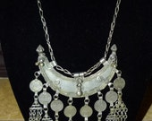 Vtg 60's 70's OOAK boho India Banjara Rajasthan gypsy belly dance Silvertone crescent dangle coin statement necklace