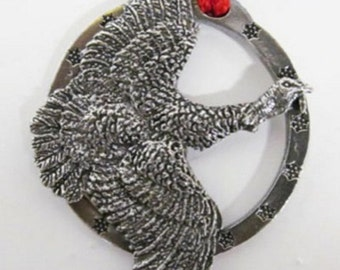 Pewter ~ Turkey Flying - Small ~ Holiday Ornament ~ B037OR