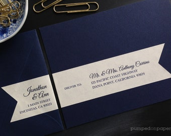 address labels for wedding invitations, personalized return address label with recipient addressing, wraparound flag stickers, cream, WLA01