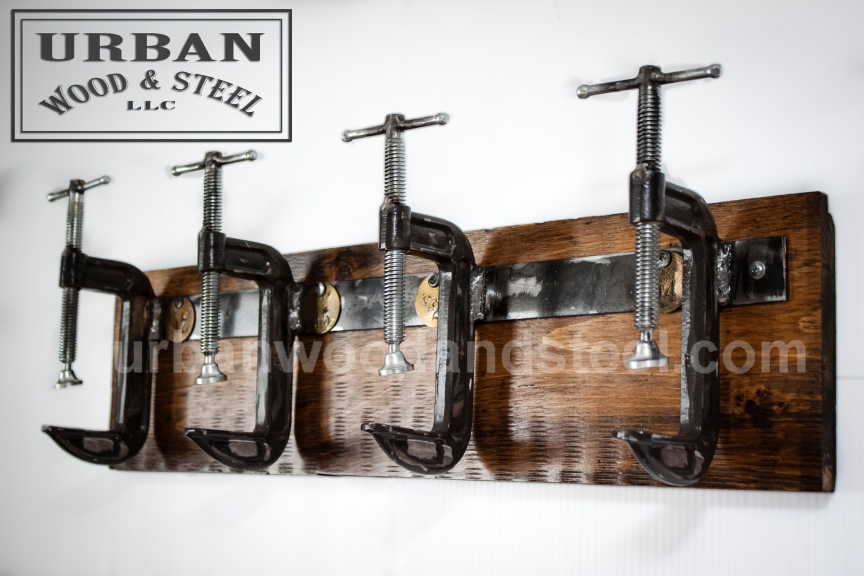 Industrial c clamp coat rack by urbanwoodandsteel on etsy for Industrial rustic design furniture