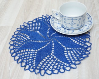 Doily coaster centerpiece cable knit crochet mat pad round blue table placemat cotton home decor handmade floral flower napkin folk