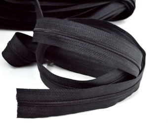 2 m of endless zipper 3 mm black + 4 zipper