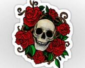 RESERVED FOR Charlene Metcalf Skull & Roses Sticker