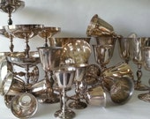 Vintage Silver Plate Goblets Collection E.P. Brass Spain 26