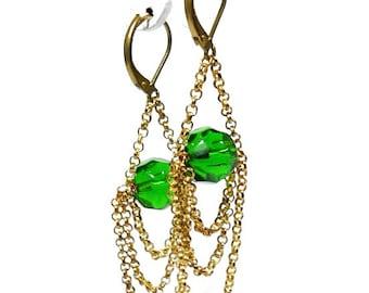 Crystal earrings with chain. Long earrings. Elegant earrings. Bridesmaid earrings. Bride earrings. Chain earrings. Art deco earrings.