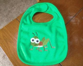 Embroidered Baby Bib -  Grasshopper - Green Bib
