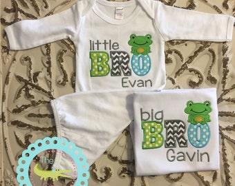 Big Brother Little Brother Set, Matching Brother Shirts, Personalized Sibling Outfits, Frog Sibling Set