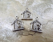 Set of 3 Pewter Nativity Scene Charms - 5140