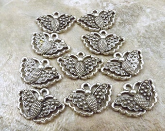 Set of Ten (10) Pewter Butterfly Charms  - 5510