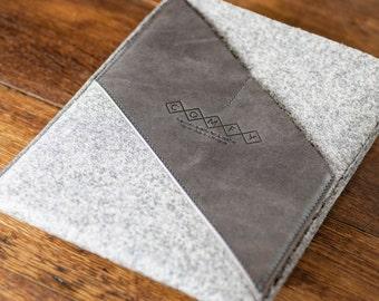 Leather iPad 2 Case, iPad 3 Case, iPad 4 Case, iPad 2 Sleeve, iPad 3 Pouch : Light Grey Wool Felt with Grey Leather Pocket by COMFYdotLT