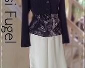 Yansi Fugel Pantsuit 2 piece black white tank top long pant cropped  jacket chiffon tank excellent condition