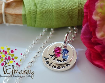 mommy necklace personalised Hand Stamped layered nest stack, name pendant necklace family keepsake