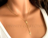 Rosary Necklace Gold Filled Pyrite Gemstones Custom Rosaries Women Confirmation Gift Spiritual Jewelry Catholic Christian Cross Necklaces