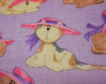 Cat Fabric ~ Cats In Hats Retired Out of Print FQ on Lavendar by Julie Ann Smith