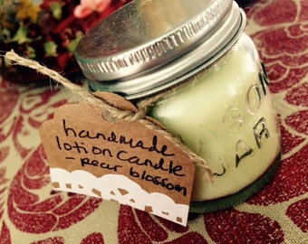Hand poured lotion candle - set of 2 candles - Mini mason jars