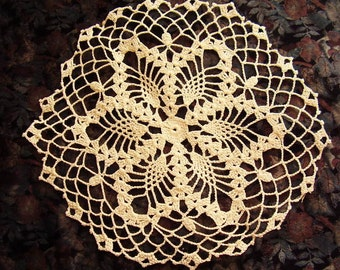 "Vintage Hand Crocheted Cotton Doily(11"")"