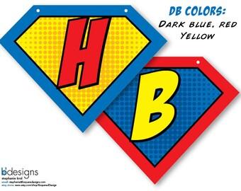 Superhero Symbol Banner  • Large • Happy Birthday • DB Color • INSTANT DOWNLOAD