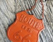 BOLD cinnamon pumpkin orange ROUTE 66 cast iron road sign metal wall art // boys room man cave decor // rustic shabby chic