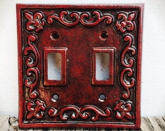 Gothic Victorian Crimson Red & Bronze Double Light Switch Plate Cover / Rustic French Country Fleur De Lis Decor / Cast Iron Outlet Cover