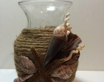 Flower Vase wrapped in Natural Jute, Natural Seashells, Starfish