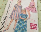 Vintage Simplicity 3938 Girls size 10 House Coat and Dress Pattern