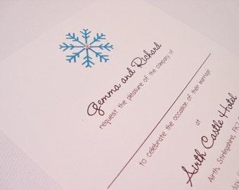 Personalised Handmade Snowflake Winter Wedding Invitation Sample