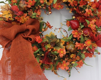 Fall wreath, fall door wreath, autumn wreath, harvest wreath, Thanksgiving wreath, fall decoration, front door wreath, outdoor wreath
