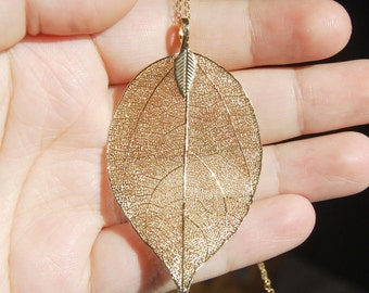 Gold Leaf Necklace , Autumn Necklace , Leaf Pendant , Fall Jewelry