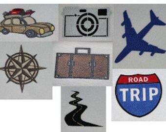 Road Trip Set of 7 designs Digitized Machine Embroidery Design  Airplane car compass