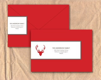 Printable Wrap Around Address Labels: Holiday Deer