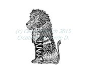Art, Black and White Art, Pen and Ink Lion, Signed 5 x 7 Print, Home Decor, Design Drawing, Lion Drawing, Animal Drawing