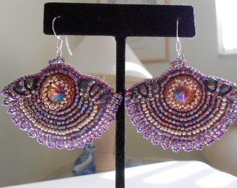 Purple Fan Earrings/OOAK