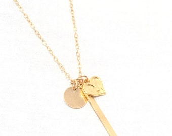 Gold Talisman, Charm Necklace/Circle Tag, Vertical Bar, Heart Charm Necklace/Layering Necklace